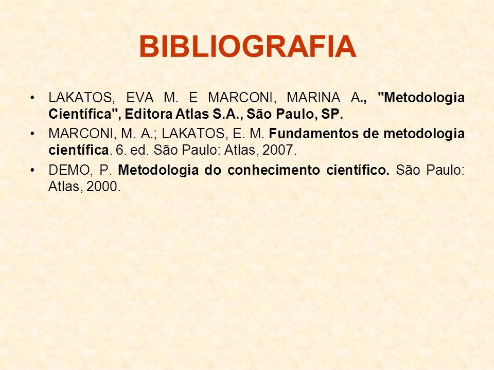 BIBLIOGRAFIA LAKATOS, EVA M. E MARCONI, MARINA A., Metodologia Científica , Editora Atlas S.A., São Paulo, SP.