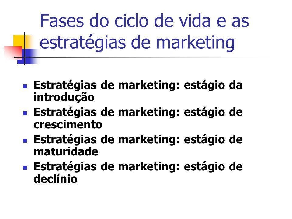 Fases do ciclo de vida e as estratégias de marketing