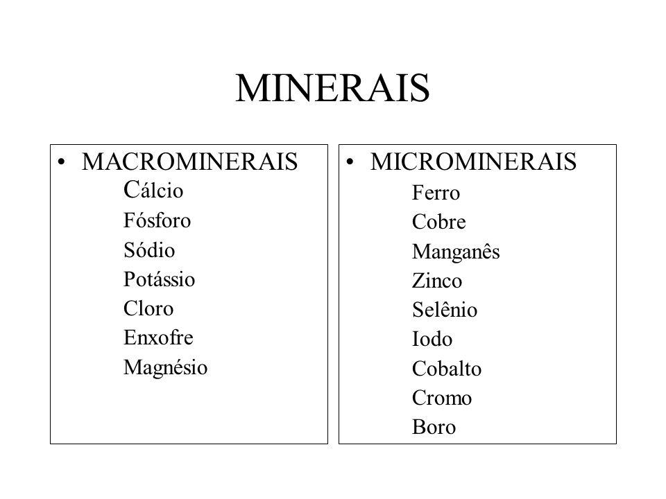MINERAIS MACROMINERAIS Cálcio MICROMINERAIS Ferro Fósforo Cobre Sódio