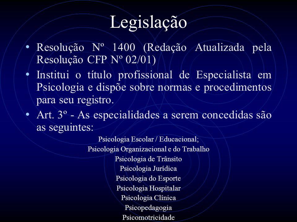 Legislação Resolução Nº 1400 (Redação Atualizada pela Resolução CFP Nº 02/01)