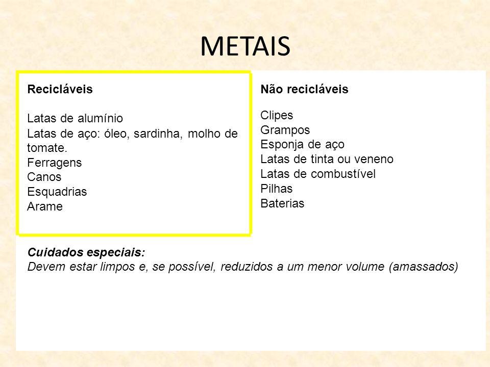 METAIS Recicláveis Latas de alumínio