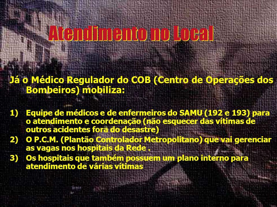 Já o Médico Regulador do COB (Centro de Operações dos Bombeiros) mobiliza: