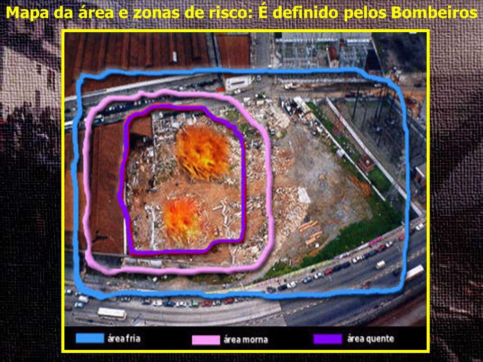 Mapa da área e zonas de risco: É definido pelos Bombeiros