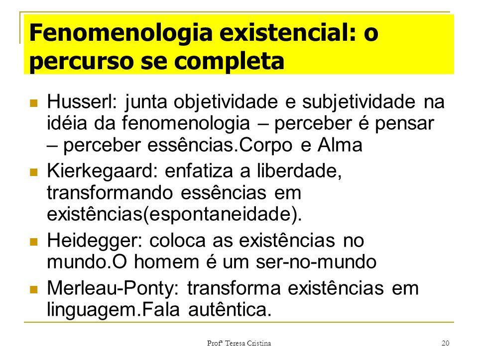 Fenomenologia existencial: o percurso se completa