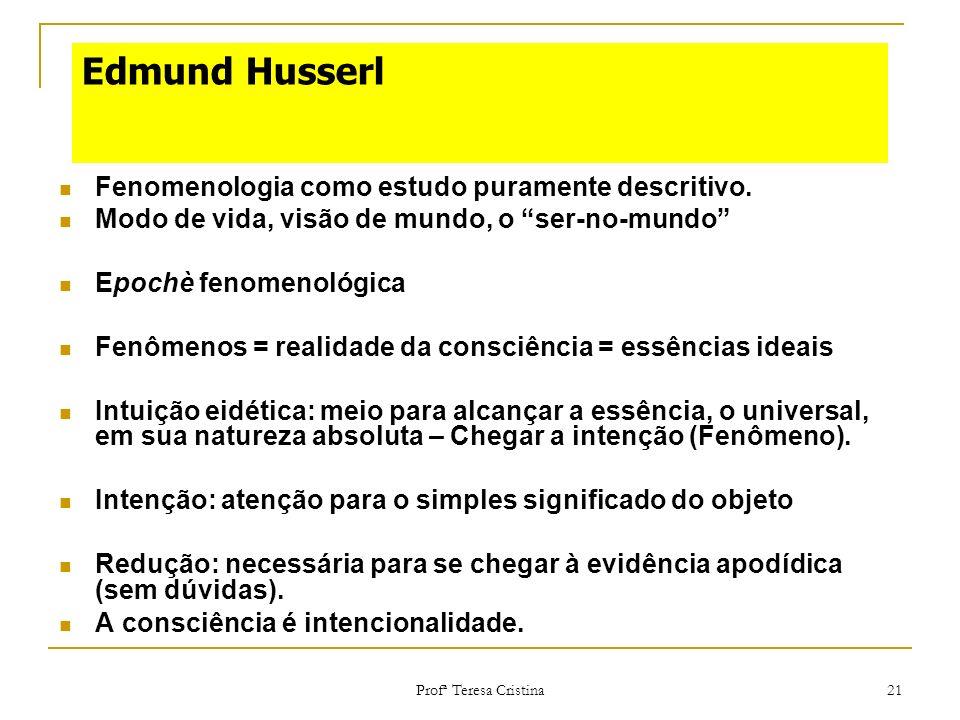 Edmund Husserl Fenomenologia como estudo puramente descritivo.