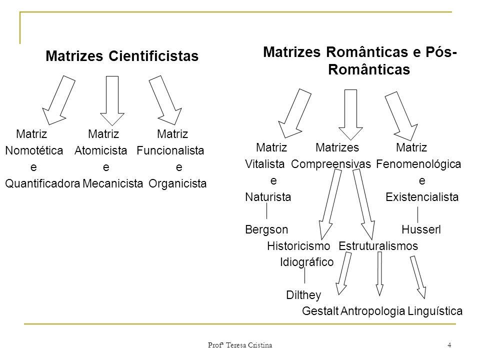Matrizes Românticas e Pós-Românticas Matrizes Cientificistas