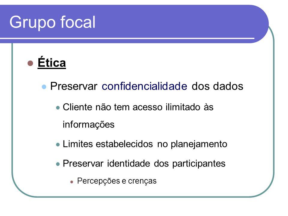 Grupo focal Ética Preservar confidencialidade dos dados