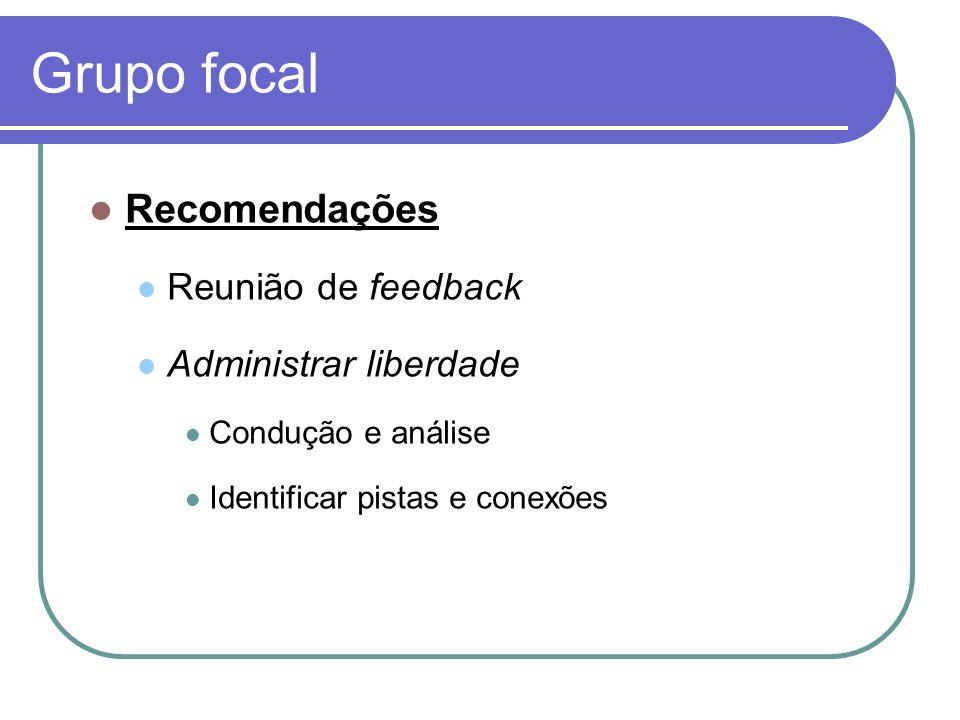 Grupo focal Recomendações Reunião de feedback Administrar liberdade