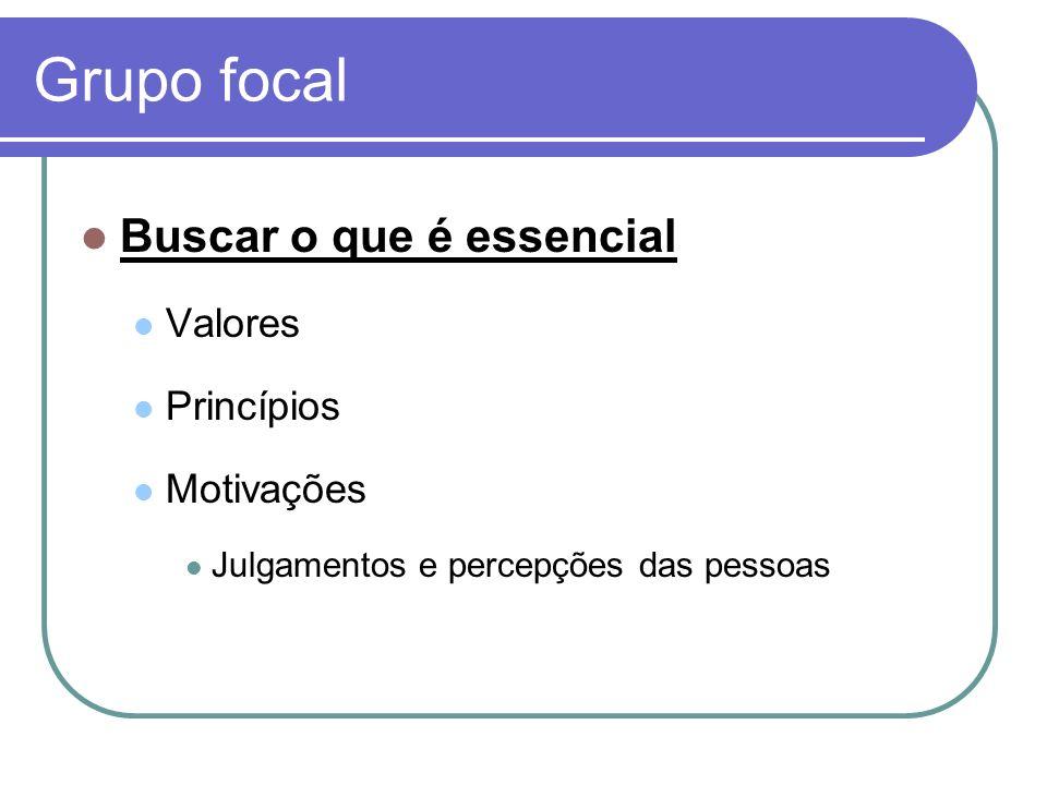 Grupo focal Buscar o que é essencial Valores Princípios Motivações