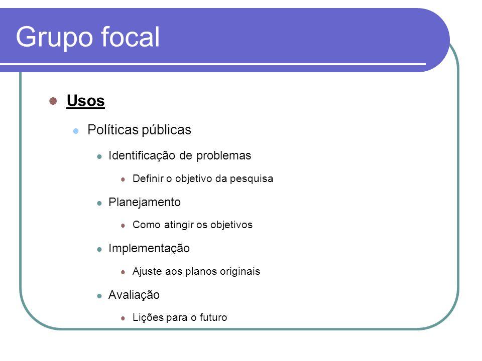 Grupo focal Usos Políticas públicas Identificação de problemas