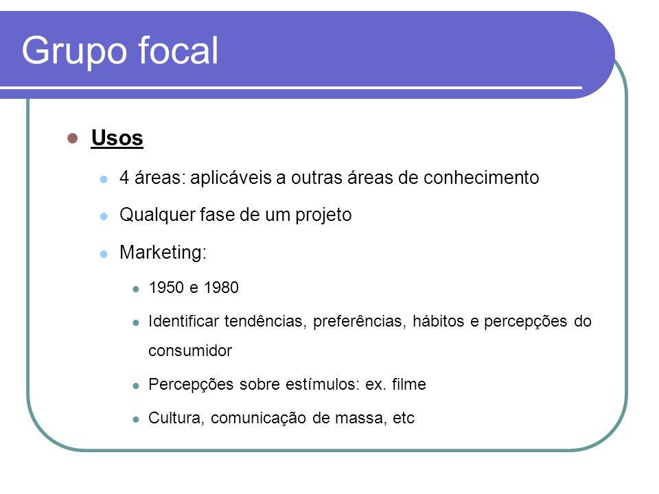 Grupo focal Usos 4 áreas: aplicáveis a outras áreas de conhecimento