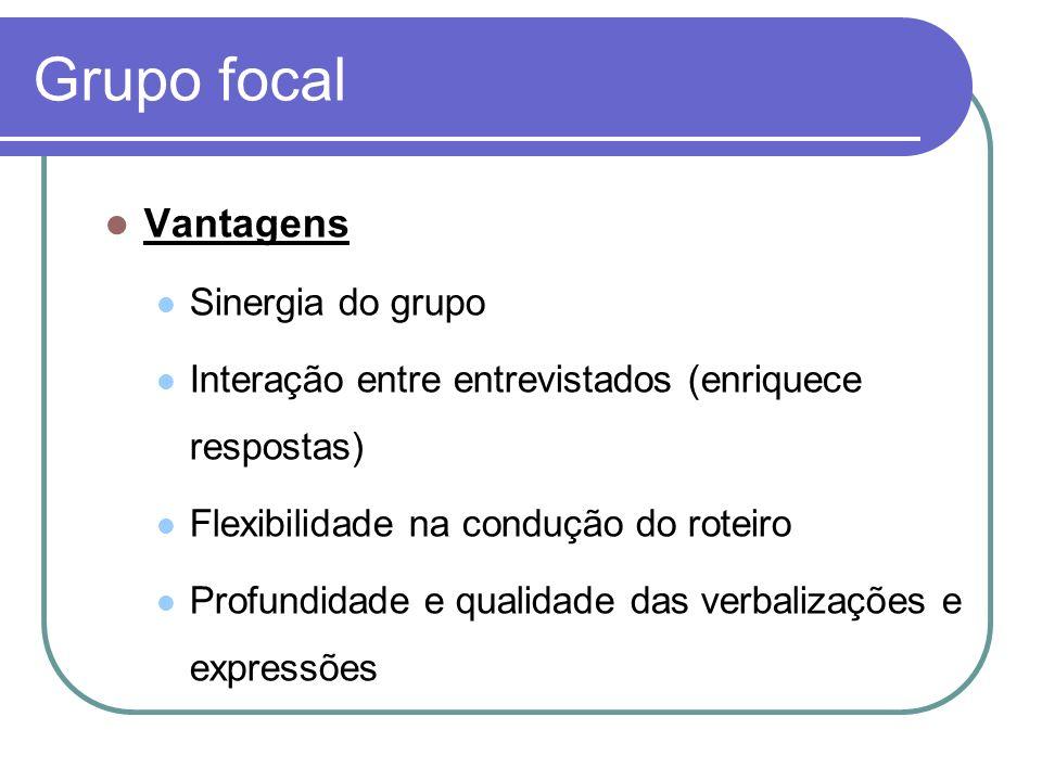 Grupo focal Vantagens Sinergia do grupo