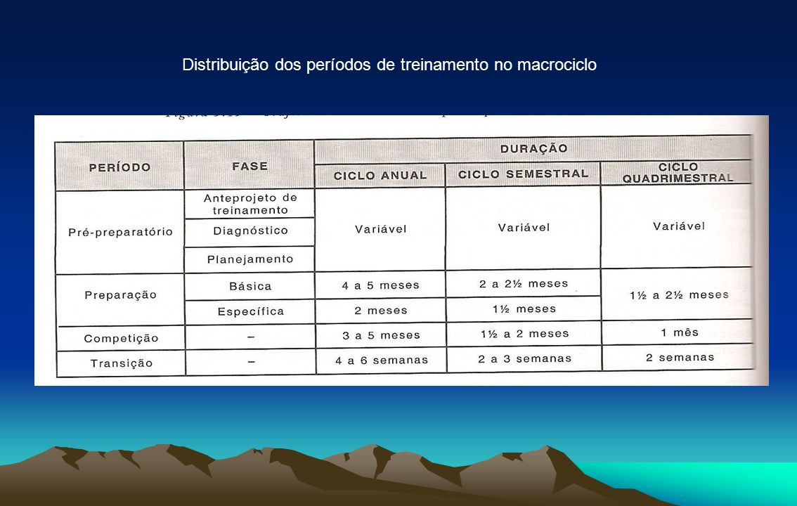 Distribuição dos períodos de treinamento no macrociclo