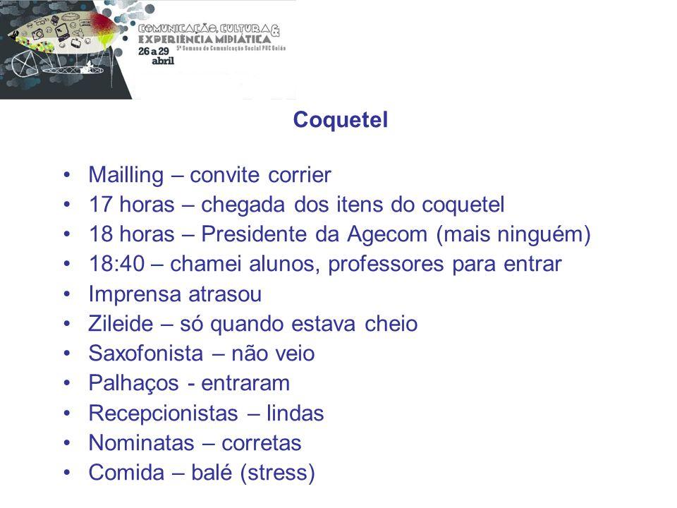 Coquetel Mailling – convite corrier. 17 horas – chegada dos itens do coquetel. 18 horas – Presidente da Agecom (mais ninguém)