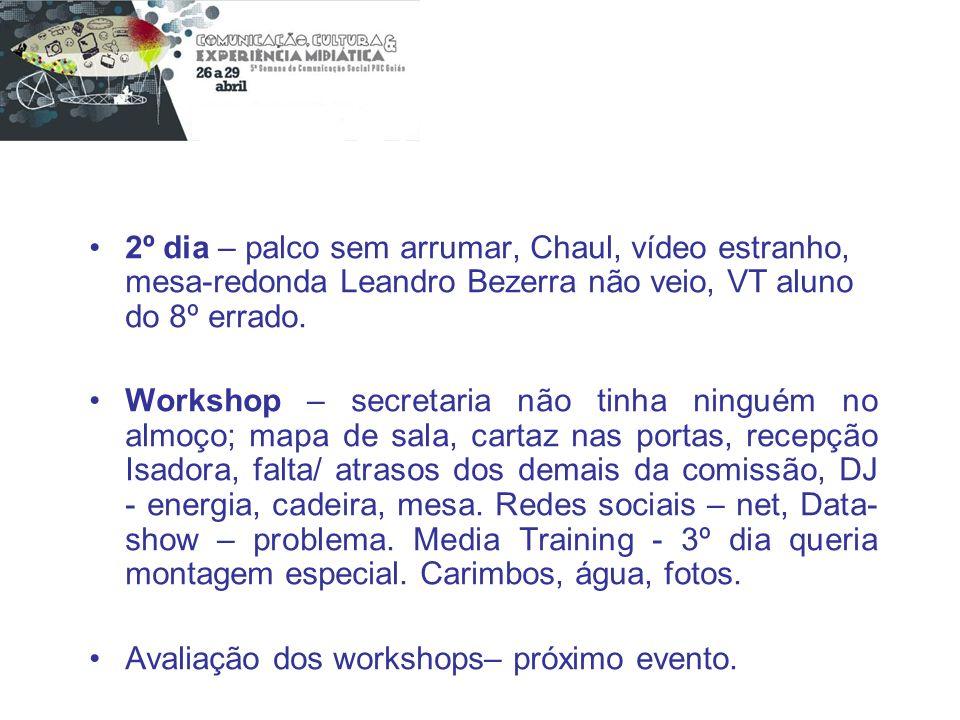 2º dia – palco sem arrumar, Chaul, vídeo estranho, mesa-redonda Leandro Bezerra não veio, VT aluno do 8º errado.
