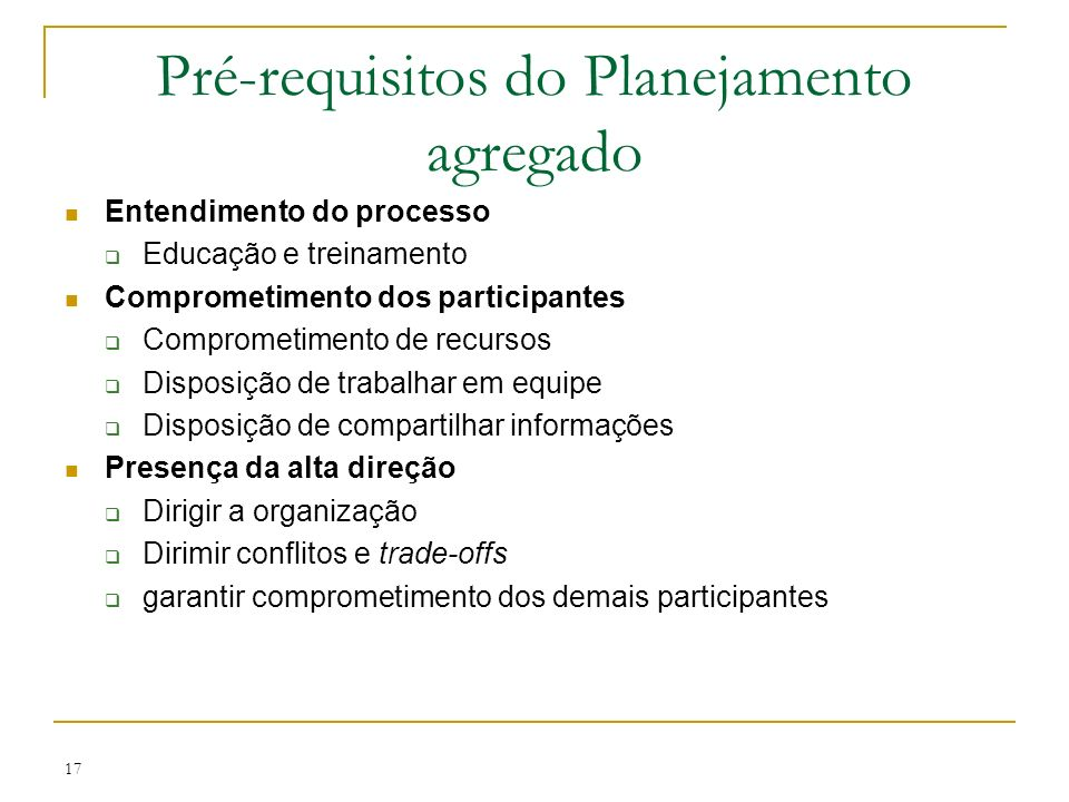 Pré-requisitos do Planejamento agregado