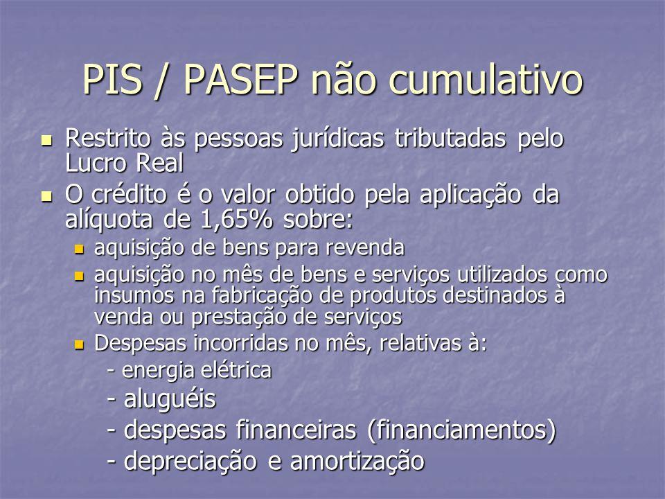 PIS / PASEP não cumulativo