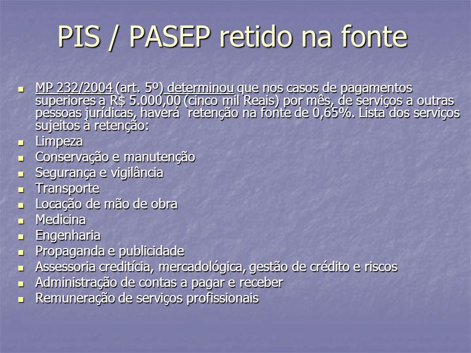 PIS / PASEP retido na fonte