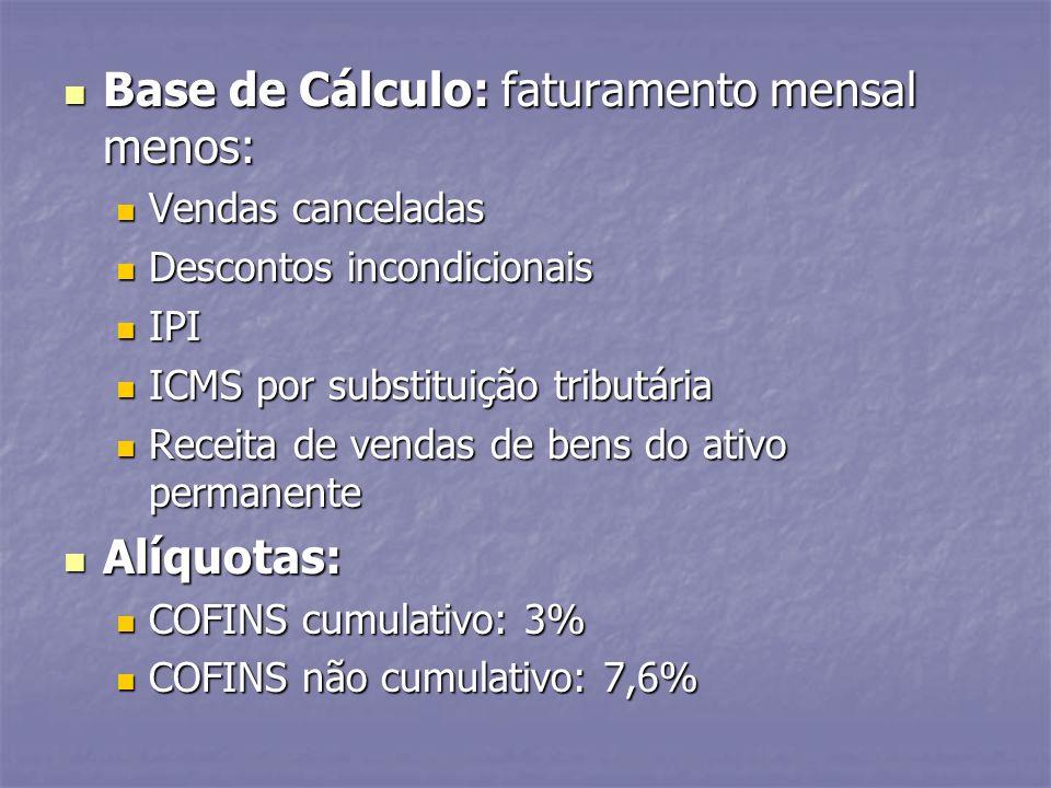 Base de Cálculo: faturamento mensal menos: