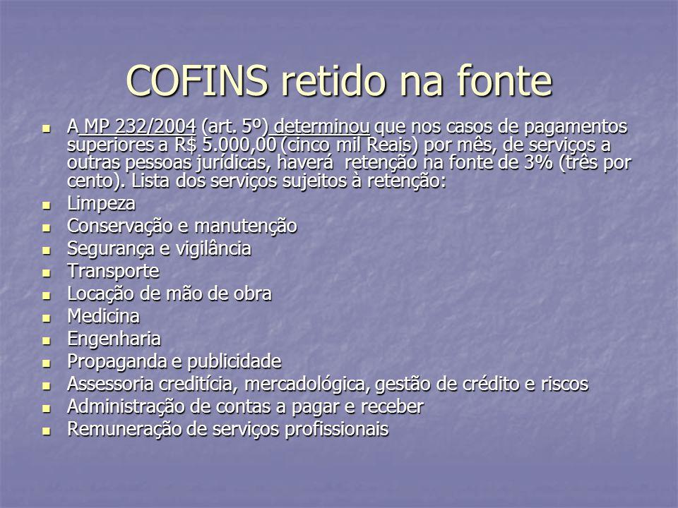 COFINS retido na fonte