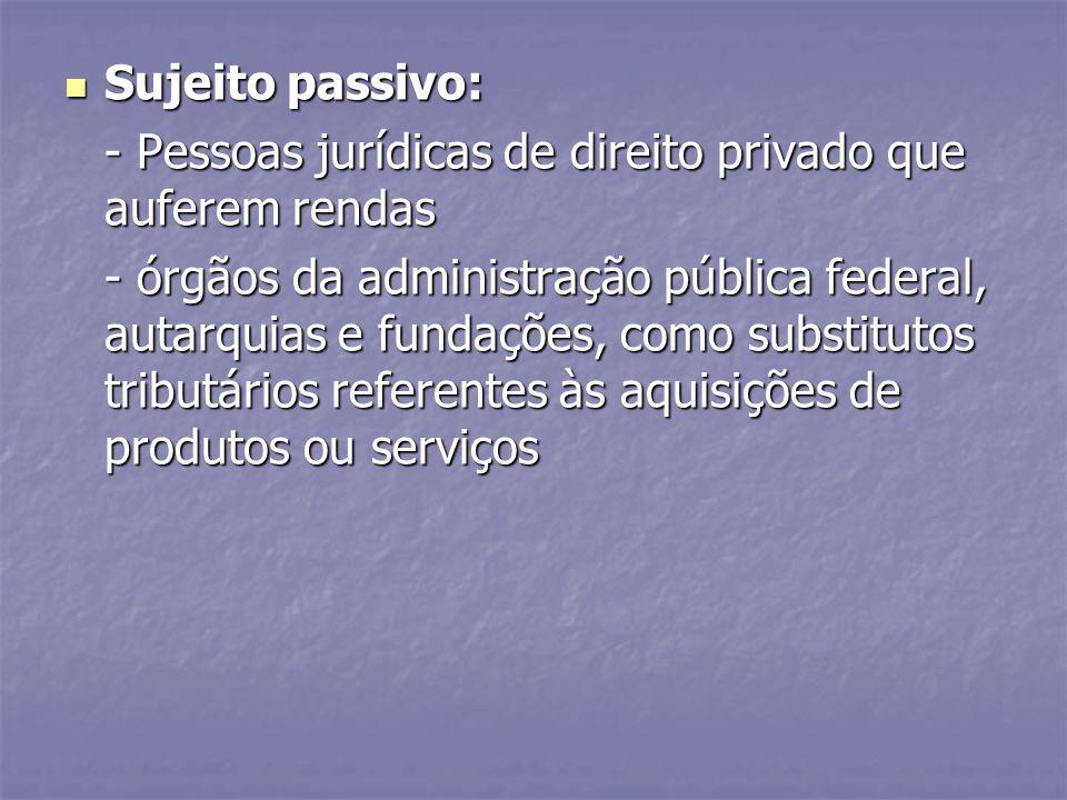 Sujeito passivo: - Pessoas jurídicas de direito privado que auferem rendas.