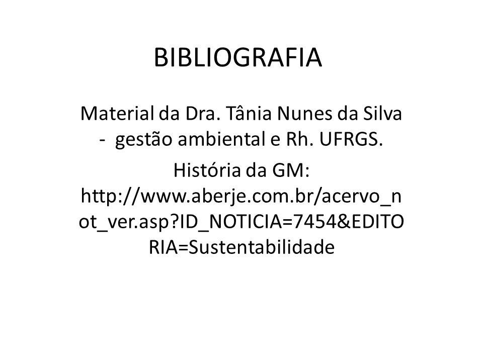 Material da Dra. Tânia Nunes da Silva - gestão ambiental e Rh. UFRGS.