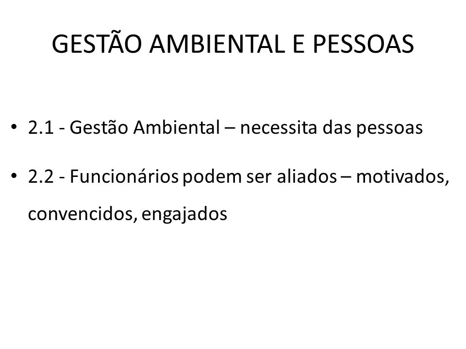 GESTÃO AMBIENTAL E PESSOAS