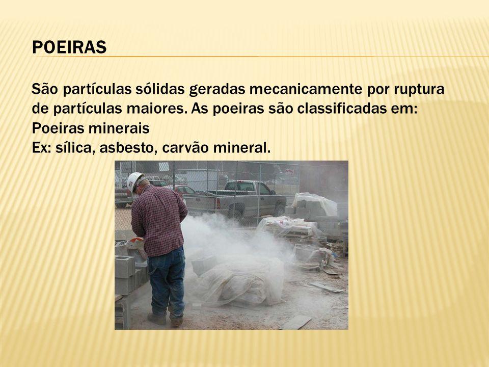 POEIRAS São partículas sólidas geradas mecanicamente por ruptura de partículas maiores.