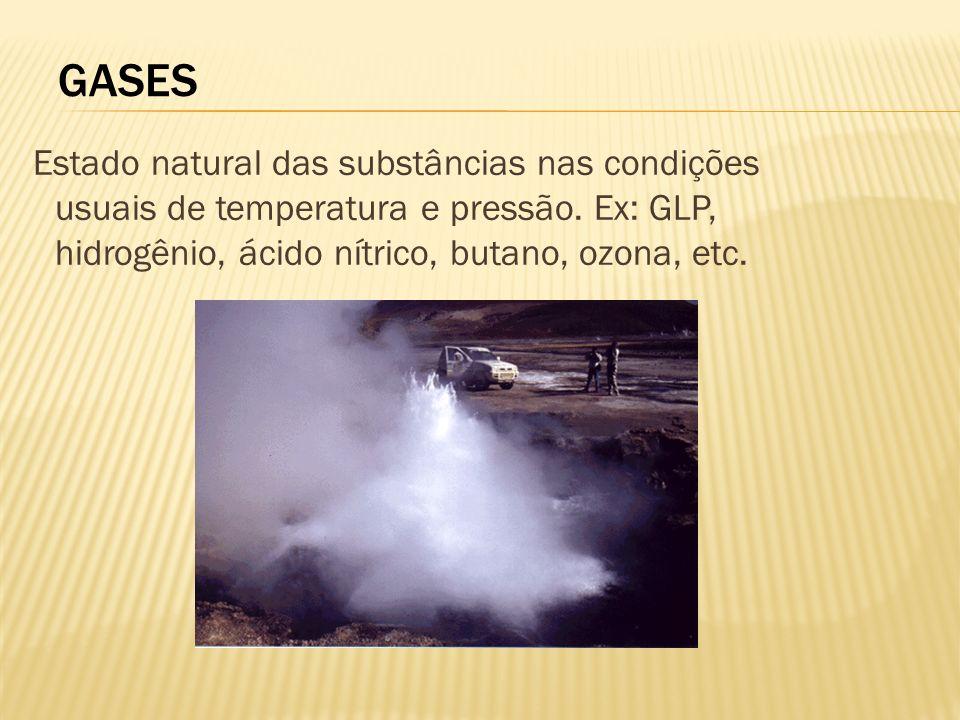 GASES Estado natural das substâncias nas condições usuais de temperatura e pressão.