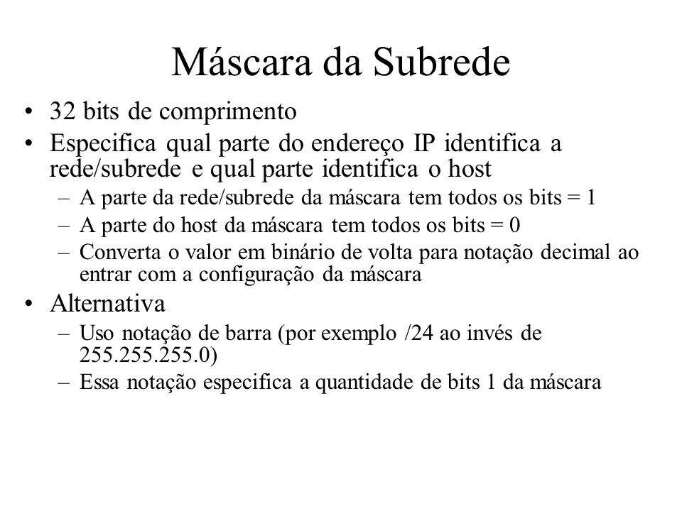 Máscara da Subrede 32 bits de comprimento