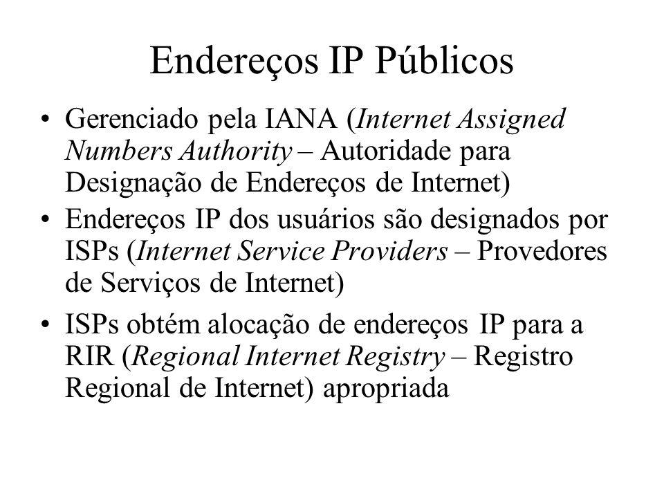 Endereços IP Públicos Gerenciado pela IANA (Internet Assigned Numbers Authority – Autoridade para Designação de Endereços de Internet)