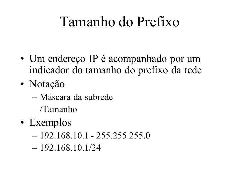 Tamanho do Prefixo Um endereço IP é acompanhado por um indicador do tamanho do prefixo da rede. Notação.