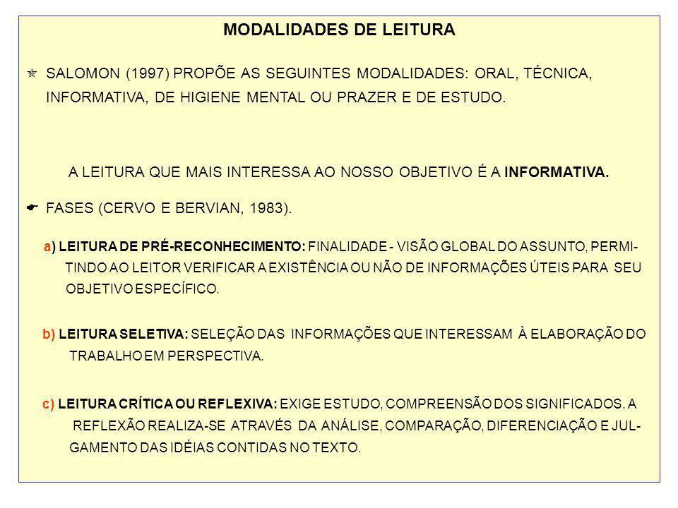 MODALIDADES DE LEITURA