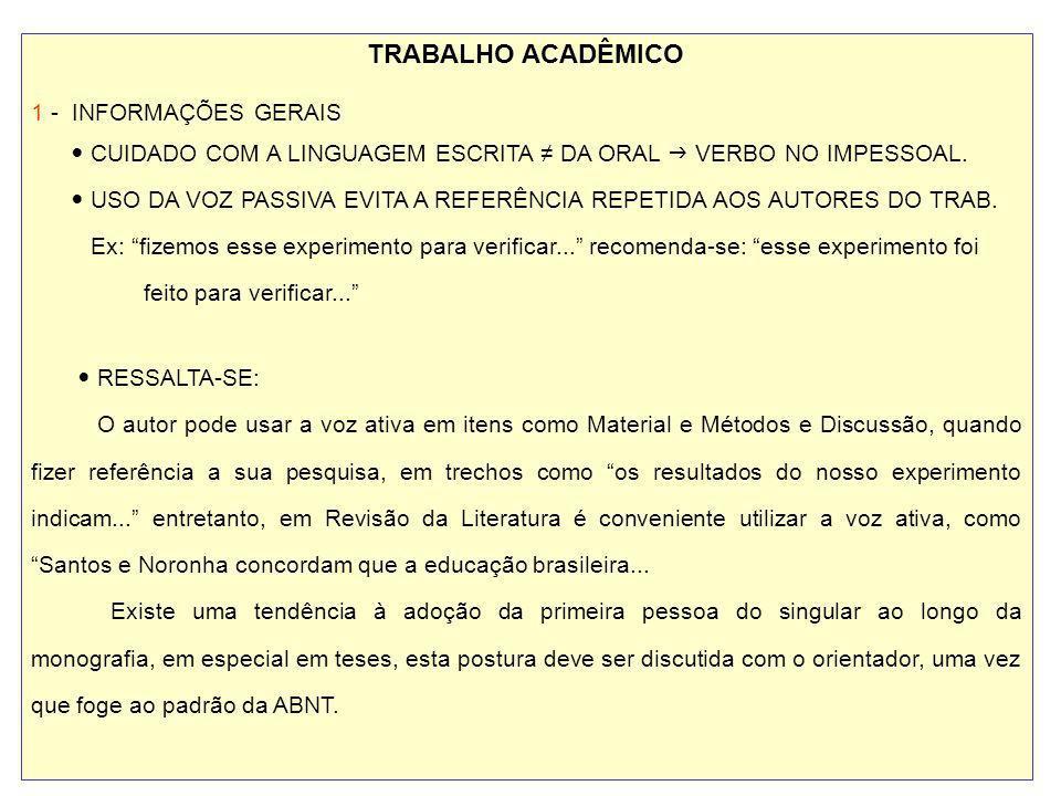 TRABALHO ACADÊMICO 1 - INFORMAÇÕES GERAIS