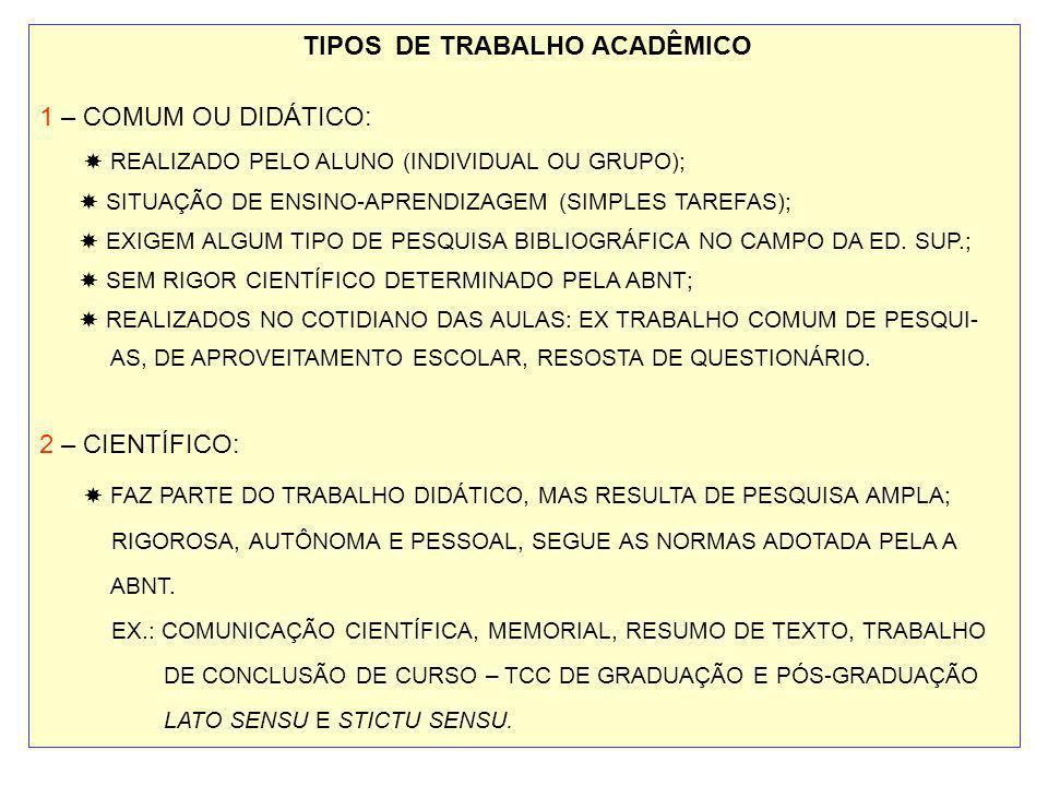 TIPOS DE TRABALHO ACADÊMICO