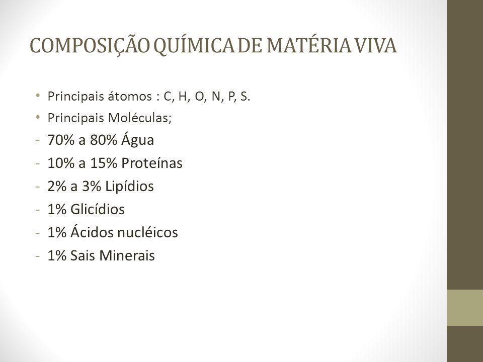 COMPOSIÇÃO QUÍMICA DE MATÉRIA VIVA