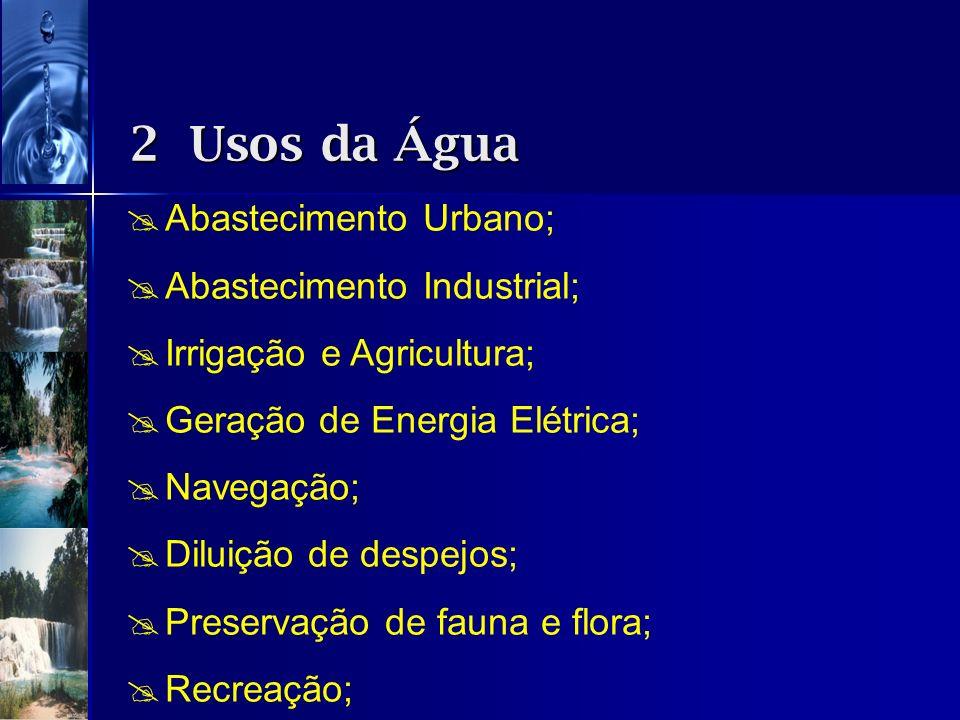 2 Usos da Água Abastecimento Urbano; Abastecimento Industrial;