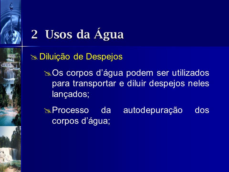 2 Usos da Água Diluição de Despejos