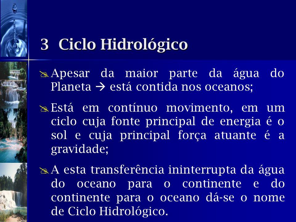 3 Ciclo Hidrológico Apesar da maior parte da água do Planeta  está contida nos oceanos;