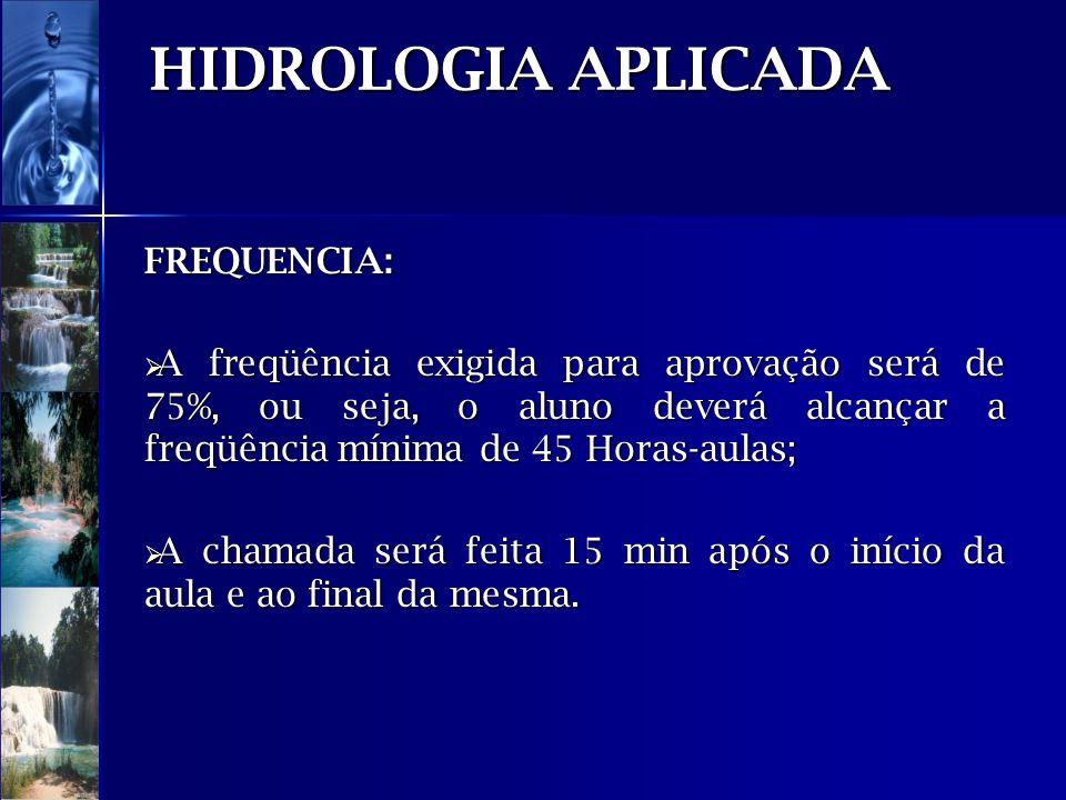 HIDROLOGIA APLICADA FREQUENCIA: