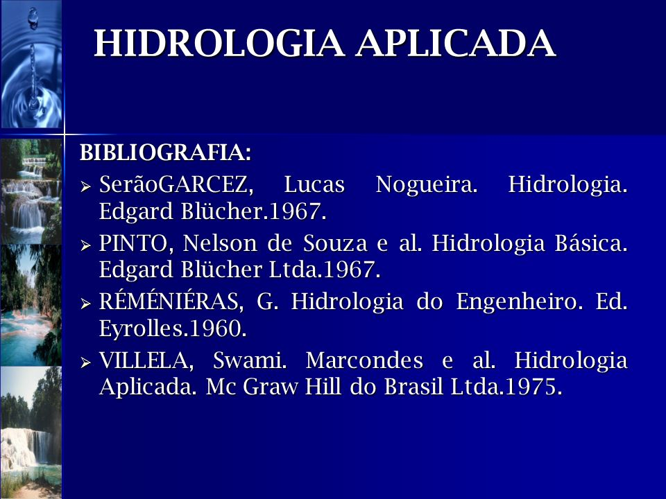 HIDROLOGIA APLICADA BIBLIOGRAFIA: