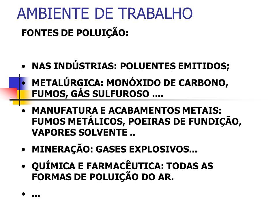 AMBIENTE DE TRABALHO FONTES DE POLUIÇÃO: