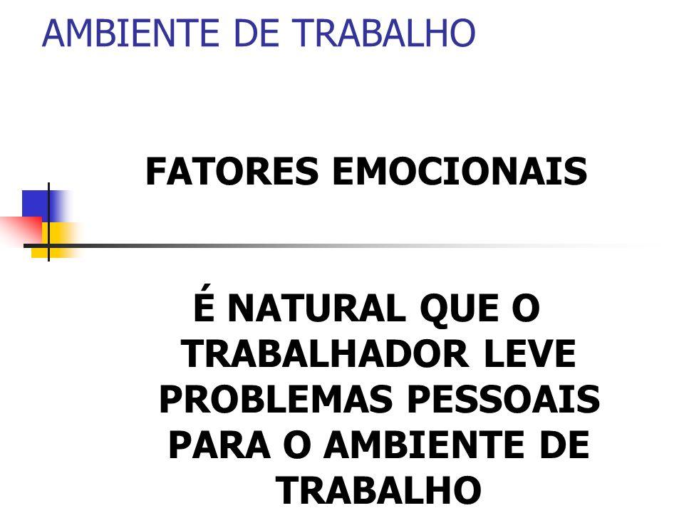 AMBIENTE DE TRABALHOFATORES EMOCIONAIS.