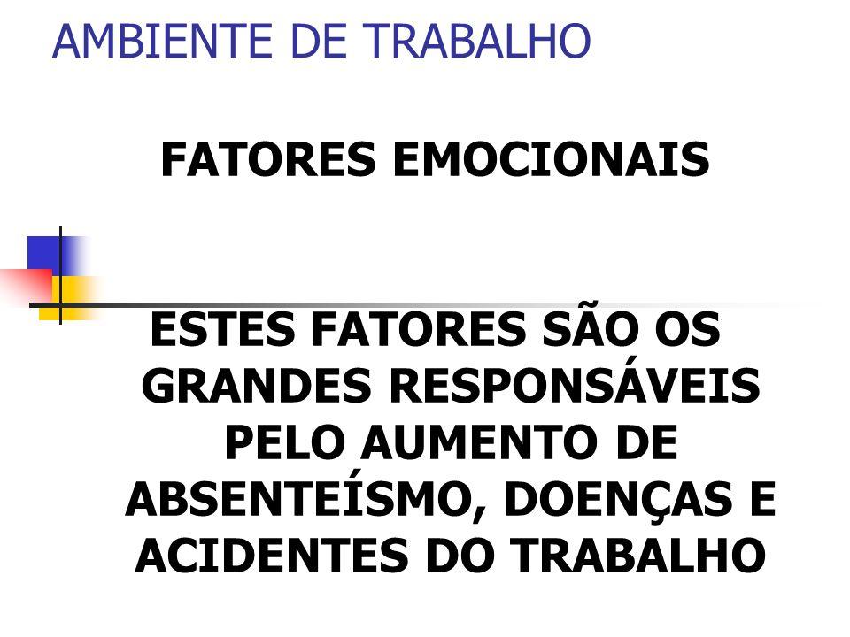 AMBIENTE DE TRABALHO FATORES EMOCIONAIS.