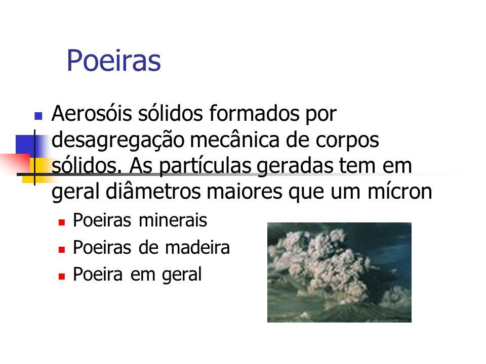 Poeiras Aerosóis sólidos formados por desagregação mecânica de corpos sólidos. As partículas geradas tem em geral diâmetros maiores que um mícron.