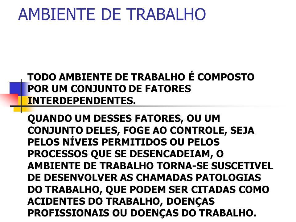 AMBIENTE DE TRABALHOTODO AMBIENTE DE TRABALHO É COMPOSTO POR UM CONJUNTO DE FATORES INTERDEPENDENTES.