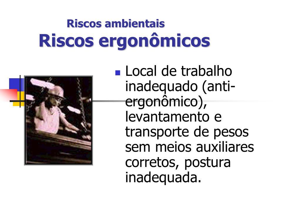 Riscos ambientais Riscos ergonômicos
