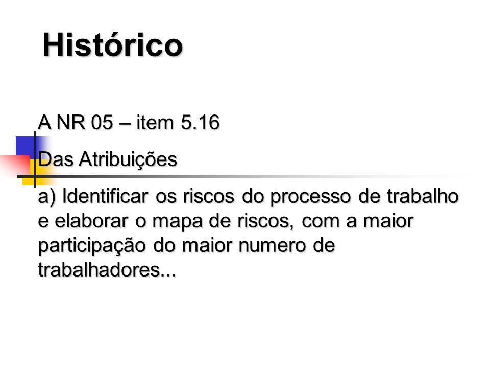 Histórico A NR 05 – item 5.16 Das Atribuições