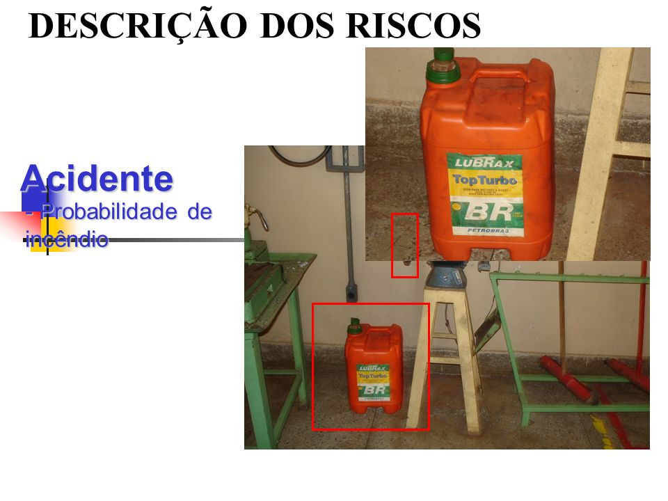 DESCRIÇÃO DOS RISCOS Acidente - Probabilidade de incêndio