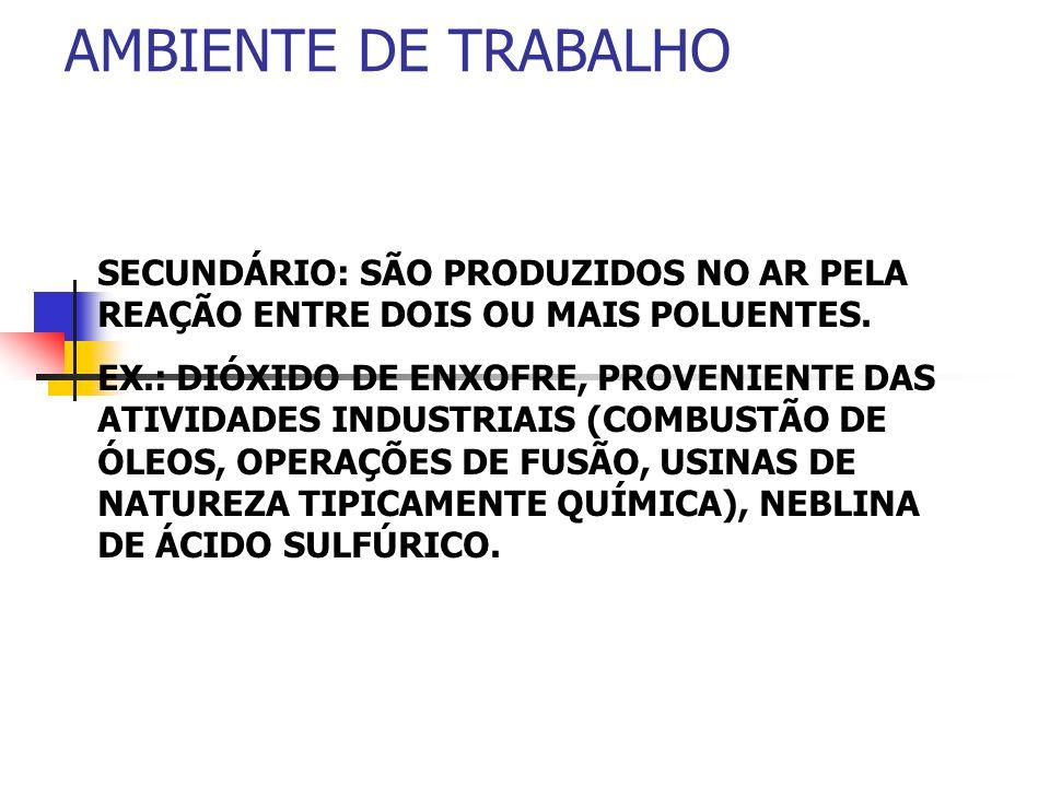 AMBIENTE DE TRABALHOSECUNDÁRIO: SÃO PRODUZIDOS NO AR PELA REAÇÃO ENTRE DOIS OU MAIS POLUENTES.